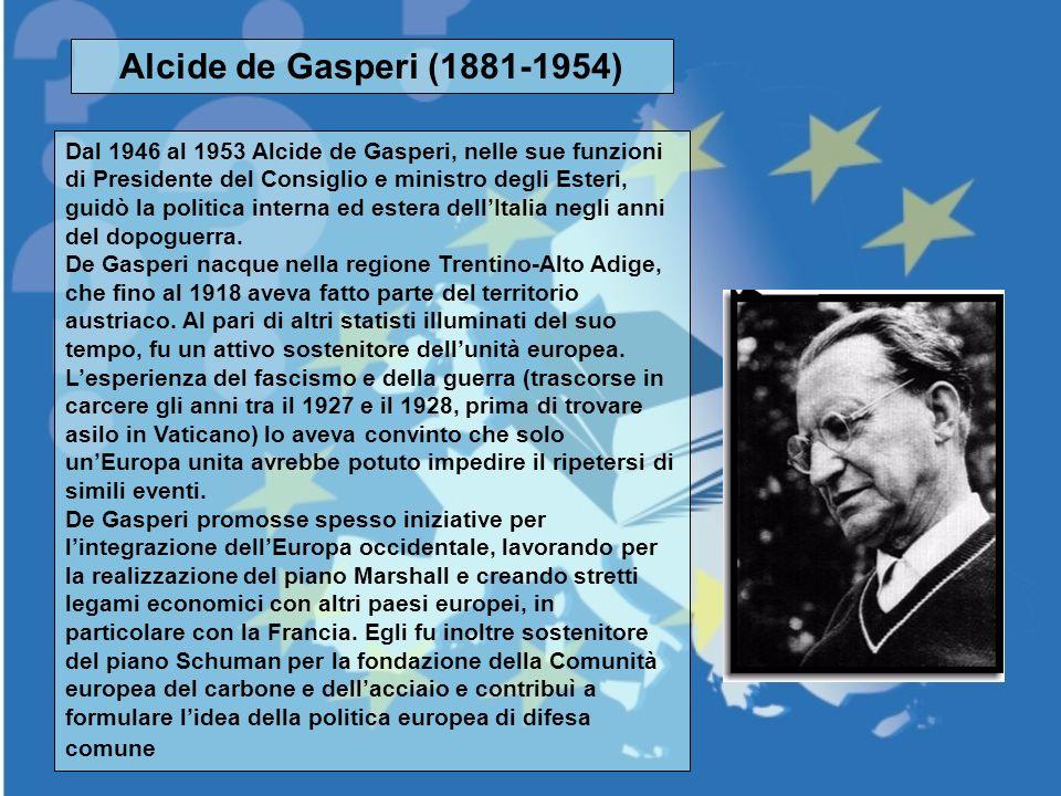 Alcide de Gasperi (1881-1954) Dal 1946 al 1953 Alcide de Gasperi, nelle sue funzioni di Presidente del Consiglio e ministro degli Esteri, guidò la pol