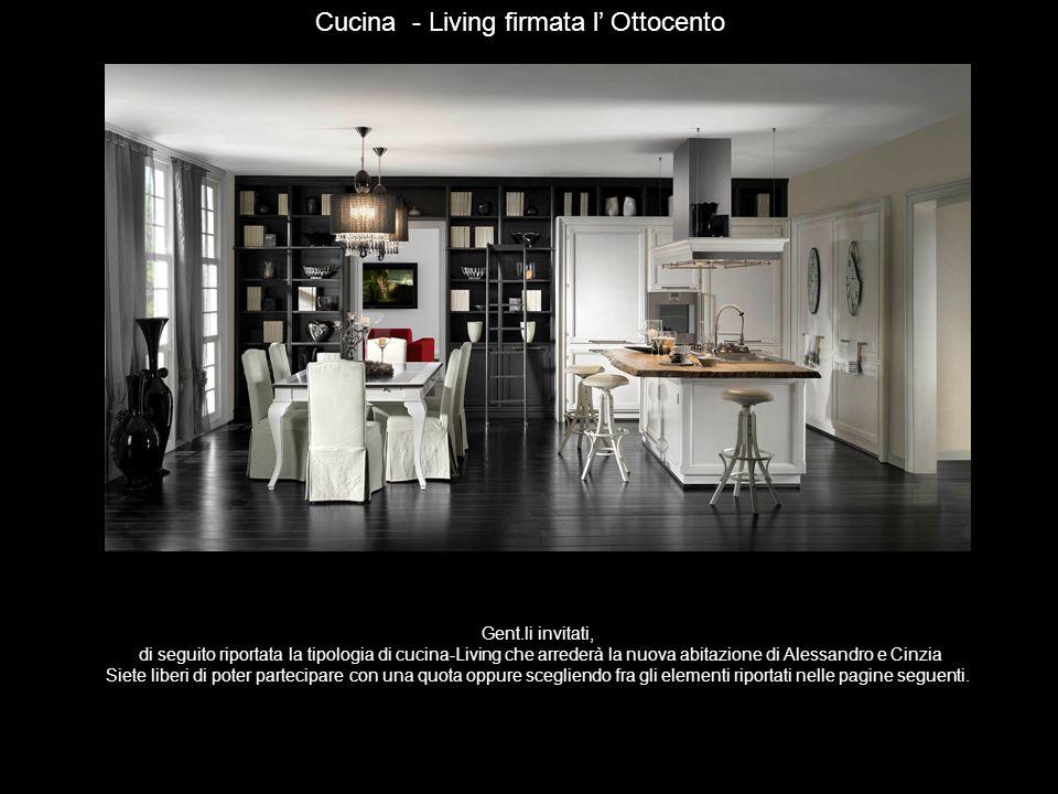 Gent.li invitati, di seguito riportata la tipologia di cucina-Living che arrederà la nuova abitazione di Alessandro e Cinzia Siete liberi di poter par