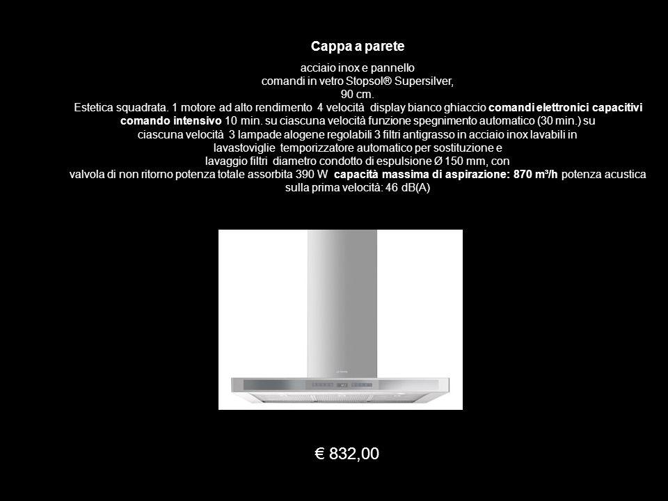 Cappa a parete acciaio inox e pannello comandi in vetro Stopsol® Supersilver, 90 cm. Estetica squadrata. 1 motore ad alto rendimento 4 velocità displa