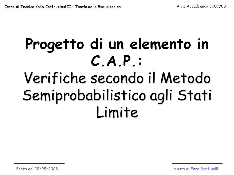 Verifiche secondo il Metodo Semiprobabilistico agli Stati Limite Progetto di un elemento in C.A.P.: Verifiche secondo il Metodo Semiprobabilistico agl