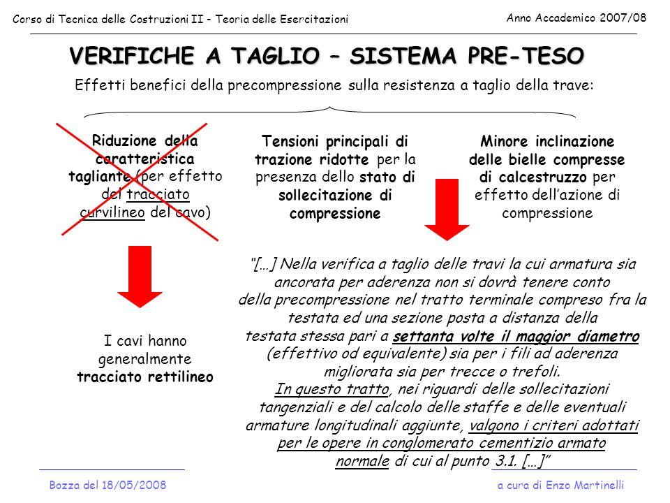 VERIFICHE A TAGLIO – SISTEMA PRE-TESO Corso di Tecnica delle Costruzioni II - Teoria delle Esercitazioni Anno Accademico 2007/08 a cura di Enzo Martin