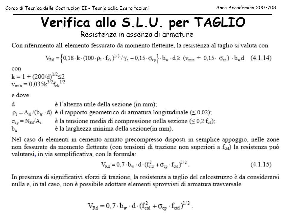 Verifica allo S.L.U. per TAGLIO Corso di Tecnica delle Costruzioni II - Teoria delle Esercitazioni Anno Accademico 2007/08 Resistenza in assenza di ar