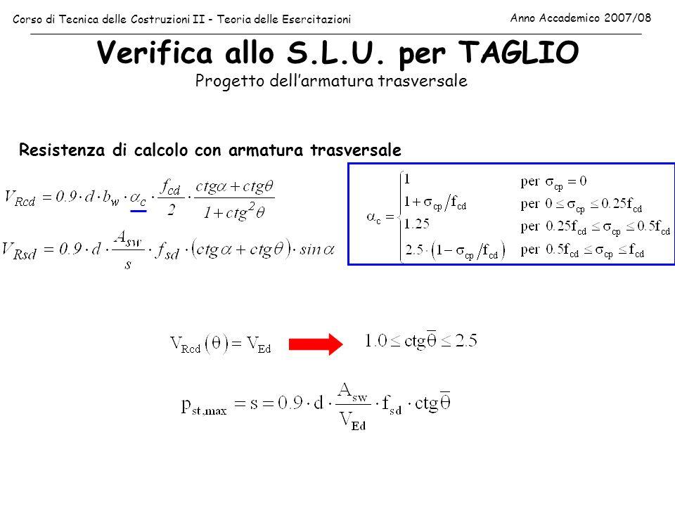 Verifica allo S.L.U. per TAGLIO Corso di Tecnica delle Costruzioni II - Teoria delle Esercitazioni Anno Accademico 2007/08 Progetto dellarmatura trasv