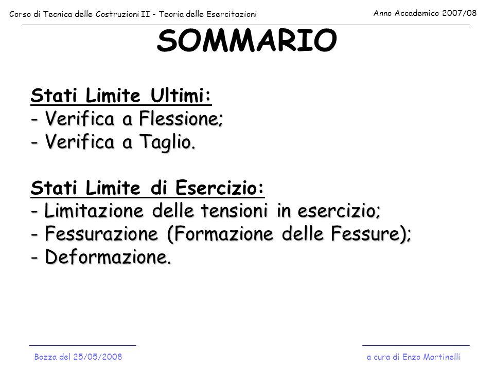 SOMMARIO Corso di Tecnica delle Costruzioni II - Teoria delle Esercitazioni Anno Accademico 2007/08 a cura di Enzo MartinelliBozza del 25/05/2008 Stat