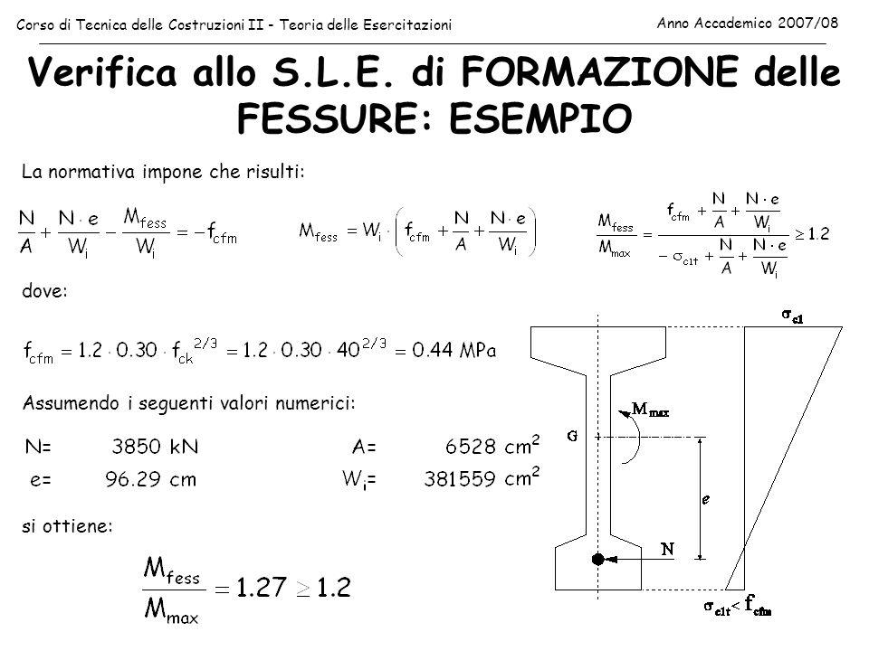 Verifica allo S.L.E. di FORMAZIONE delle FESSURE: ESEMPIO Corso di Tecnica delle Costruzioni II - Teoria delle Esercitazioni Anno Accademico 2007/08 L