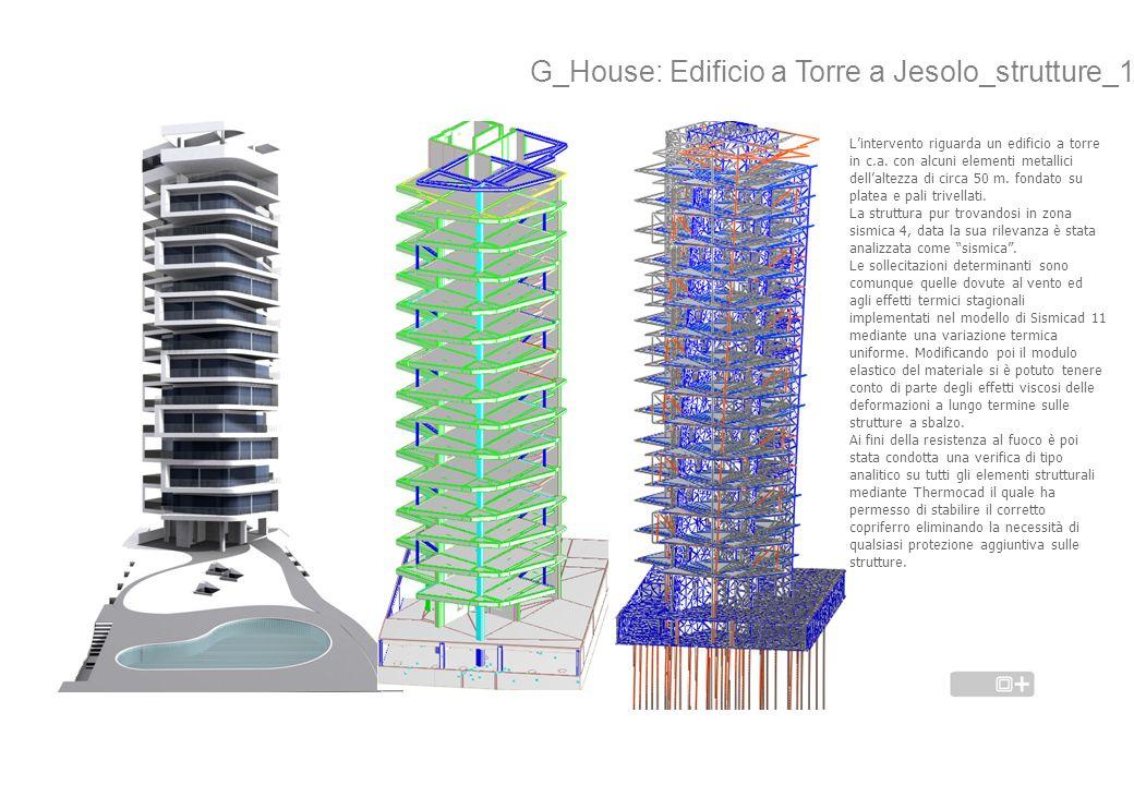 G_House: Edificio a Torre a Jesolo_strutture_1 Lintervento riguarda un edificio a torre in c.a. con alcuni elementi metallici dellaltezza di circa 50