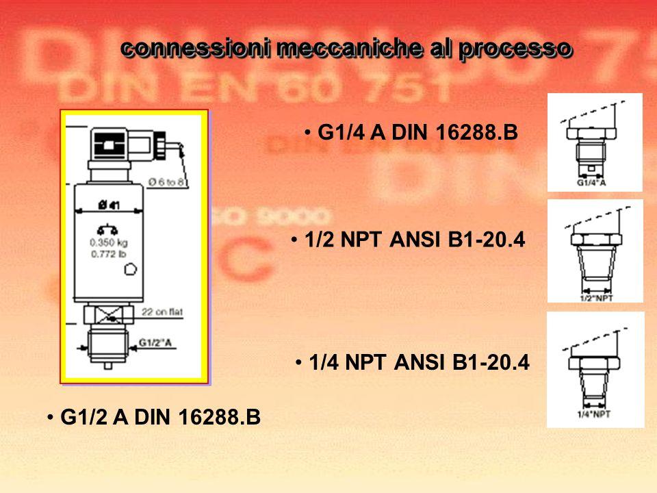 G1/4 A DIN 16288.B G1/2 A DIN 16288.B 1/4 NPT ANSI B1-20.4 1/2 NPT ANSI B1-20.4 connessioni meccaniche al processo connessioni meccaniche al processo