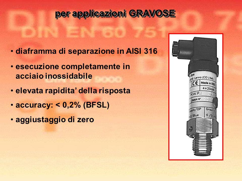 diaframma di separazione in AISI 316 esecuzione completamente in acciaio inossidabile elevata rapidita della risposta accuracy: < 0,2% (BFSL) aggiusta