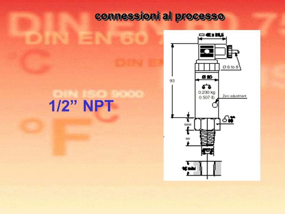 1/2 NPT connessioni al processo connessioni al processo