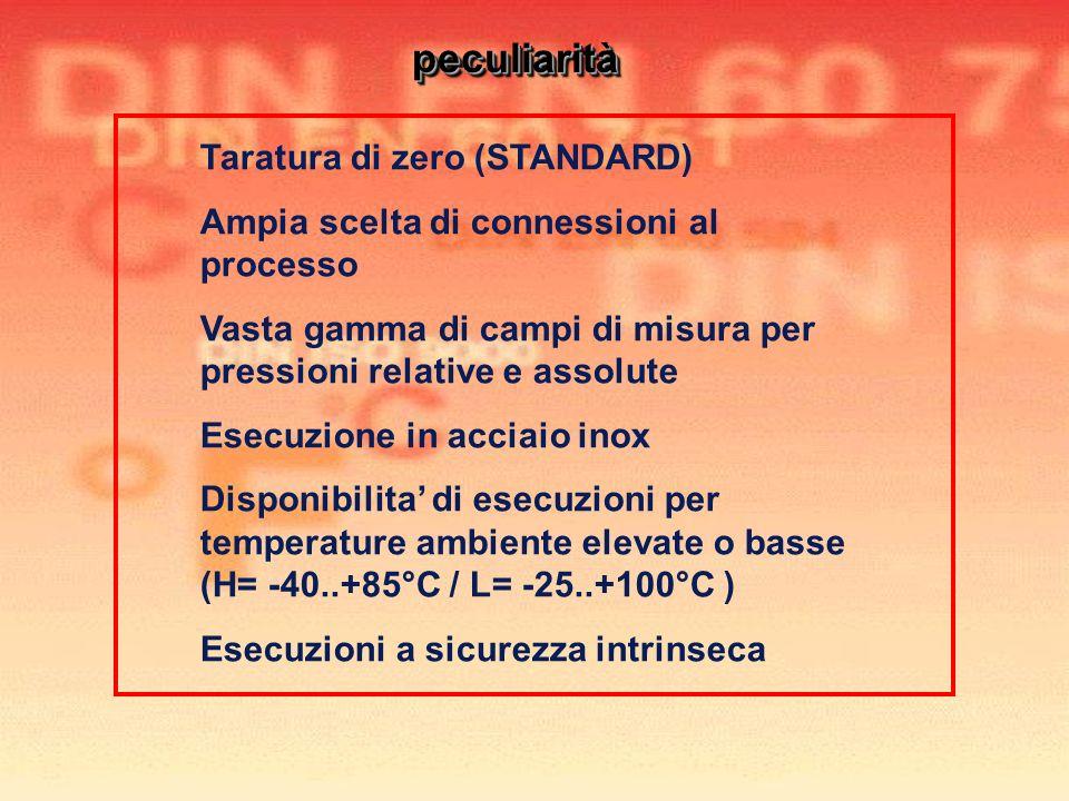 Taratura di zero (STANDARD) Ampia scelta di connessioni al processo Vasta gamma di campi di misura per pressioni relative e assolute Esecuzione in acc