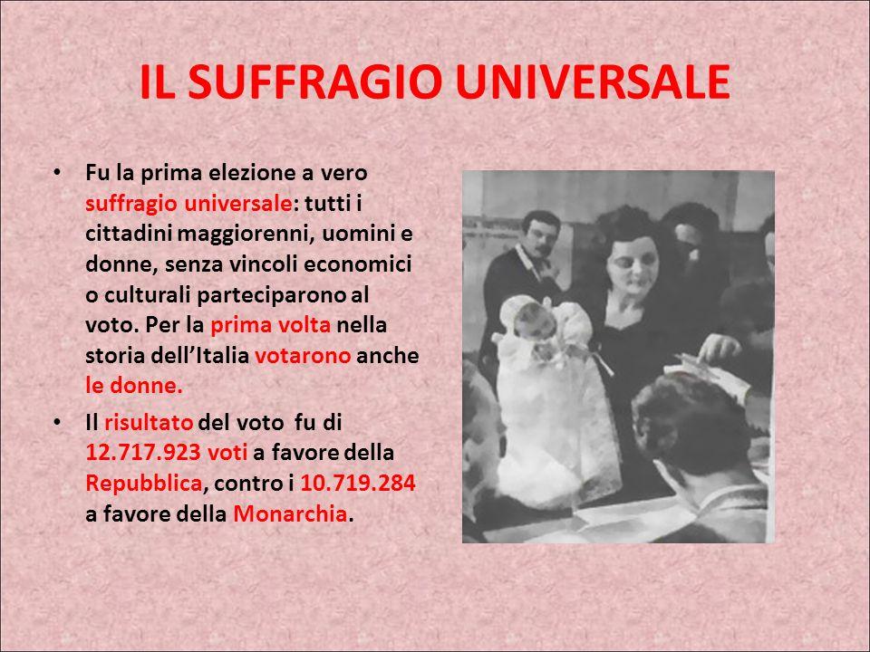 IL SUFFRAGIO UNIVERSALE Fu la prima elezione a vero suffragio universale: tutti i cittadini maggiorenni, uomini e donne, senza vincoli economici o culturali parteciparono al voto.