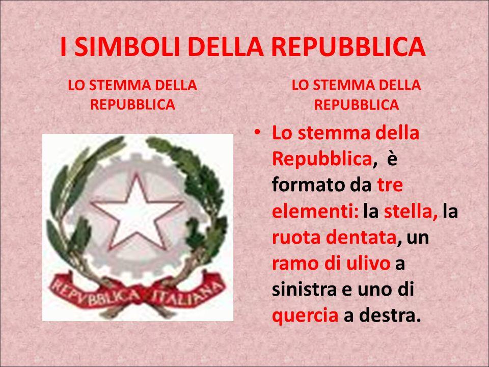 I SIMBOLI DELLA REPUBBLICA LO STEMMA DELLA REPUBBLICA Lo stemma della Repubblica, è formato da tre elementi: la stella, la ruota dentata, un ramo di ulivo a sinistra e uno di quercia a destra.