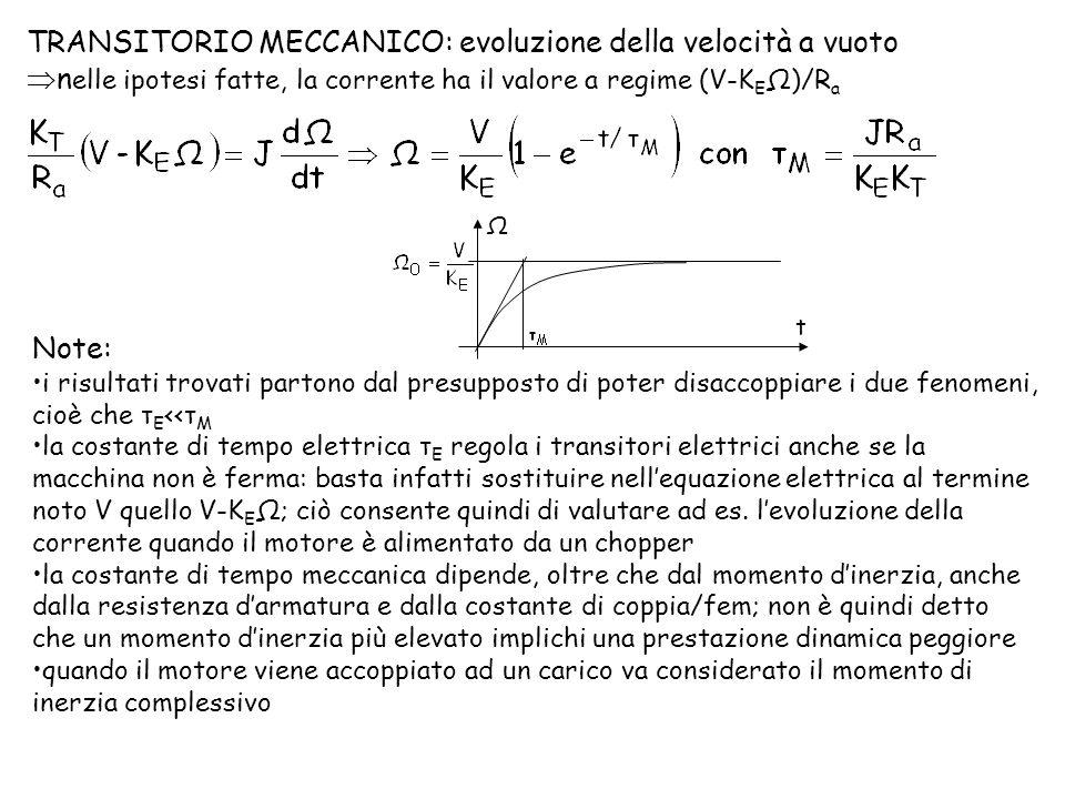 TRANSITORIO MECCANICO: evoluzione della velocità a vuoto n elle ipotesi fatte, la corrente ha il valore a regime (V-K E Ω)/R a Ω t Note: i risultati t