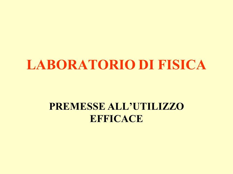 LABORATORIO DI FISICA PREMESSE ALLUTILIZZO EFFICACE