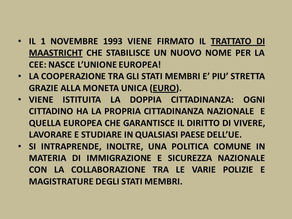 IL 1 NOVEMBRE 1993 VIENE FIRMATO IL TRATTATO DI MAASTRICHT CHE STABILISCE UN NUOVO NOME PER LA CEE: NASCE LUNIONE EUROPEA! LA COOPERAZIONE TRA GLI STA