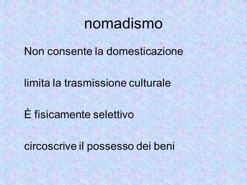 nomadismo Non consente la domesticazione limita la trasmissione culturale È fisicamente selettivo circoscrive il possesso dei beni