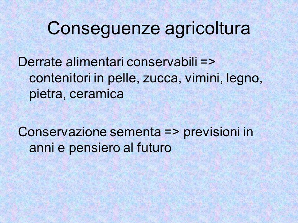 Conseguenze agricoltura Derrate alimentari conservabili => contenitori in pelle, zucca, vimini, legno, pietra, ceramica Conservazione sementa => previ