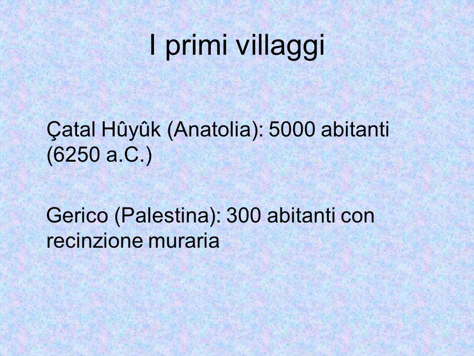 I primi villaggi Çatal Hûyûk (Anatolia): 5000 abitanti (6250 a.C.) Gerico (Palestina): 300 abitanti con recinzione muraria