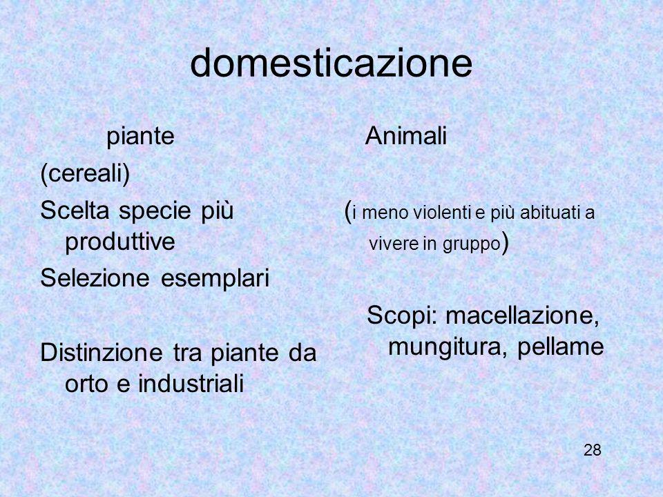 domesticazione piante (cereali) Scelta specie più produttive Selezione esemplari Distinzione tra piante da orto e industriali Animali ( i meno violent