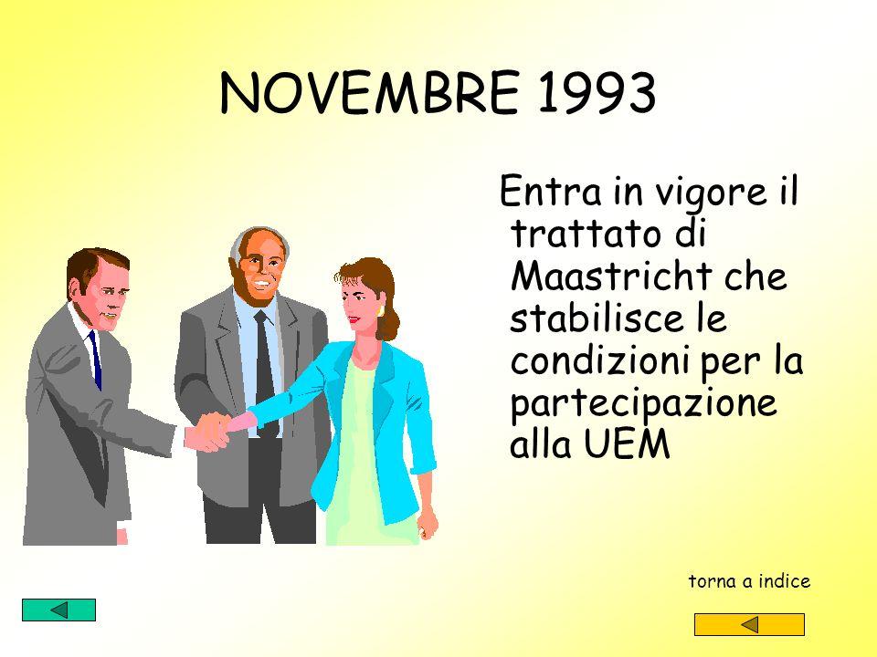 Gennaio 1993 Entra in vigore il mercato unico con labolizione delle frontiere doganali torna a indice