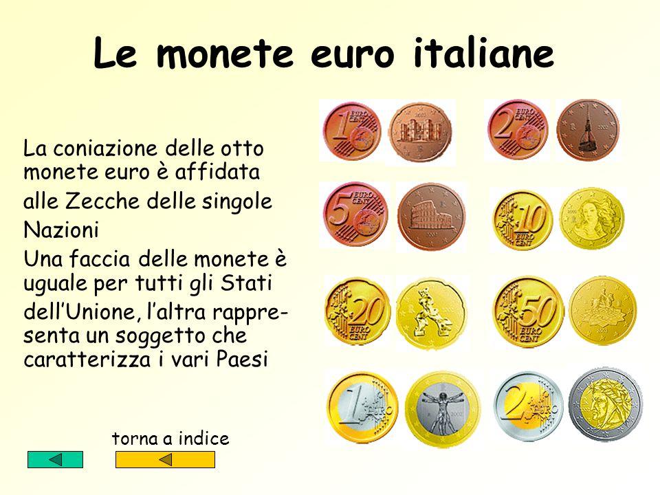Le facce degli euro Le valute euro saranno disponibili in otto monete e sette banconote Osserviamole più attentamente nelle seguenti schermate torna a