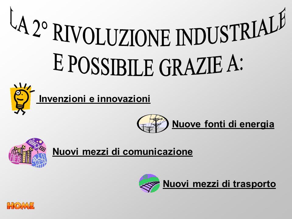 Nuove fonti di energia Nuovi mezzi di comunicazione Nuovi mezzi di trasporto Invenzioni e innovazioni
