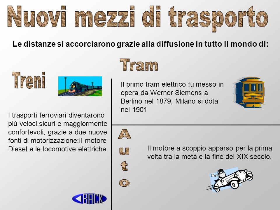 Le distanze si accorciarono grazie alla diffusione in tutto il mondo di: I trasporti ferroviari diventarono più veloci,sicuri e maggiormente confortev