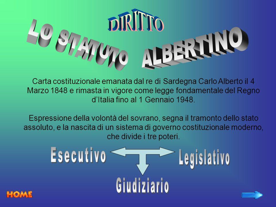 Carta costituzionale emanata dal re di Sardegna Carlo Alberto il 4 Marzo 1848 e rimasta in vigore come legge fondamentale del Regno dItalia fino al 1