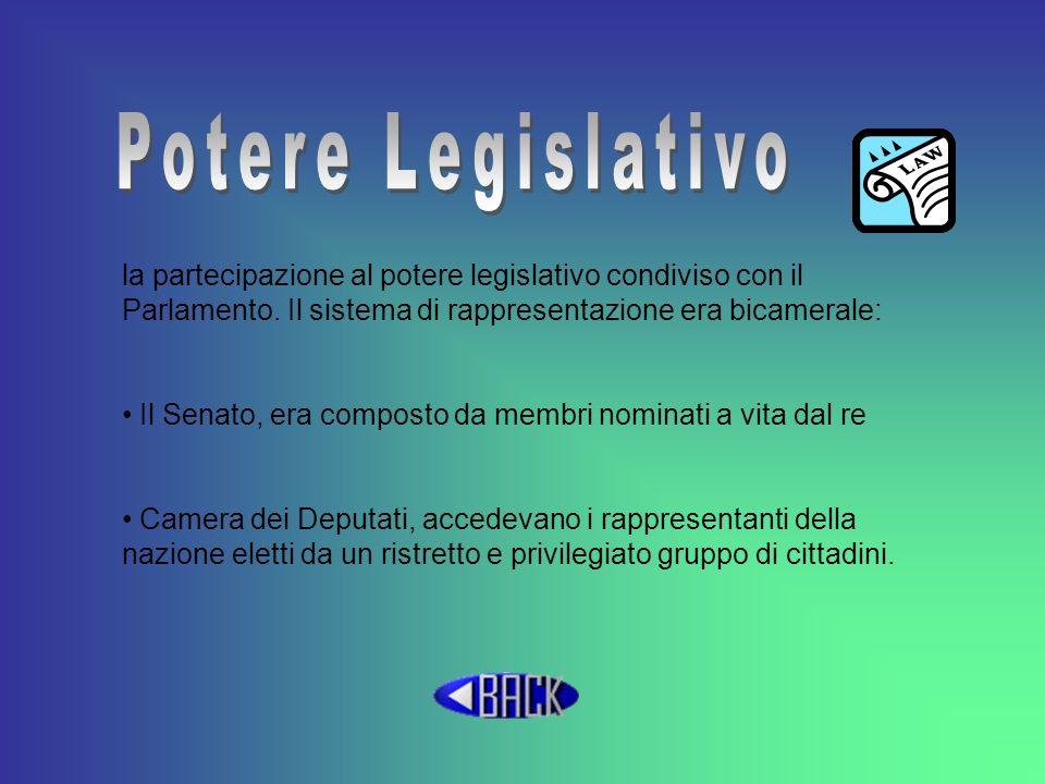 la partecipazione al potere legislativo condiviso con il Parlamento. Il sistema di rappresentazione era bicamerale: Il Senato, era composto da membri
