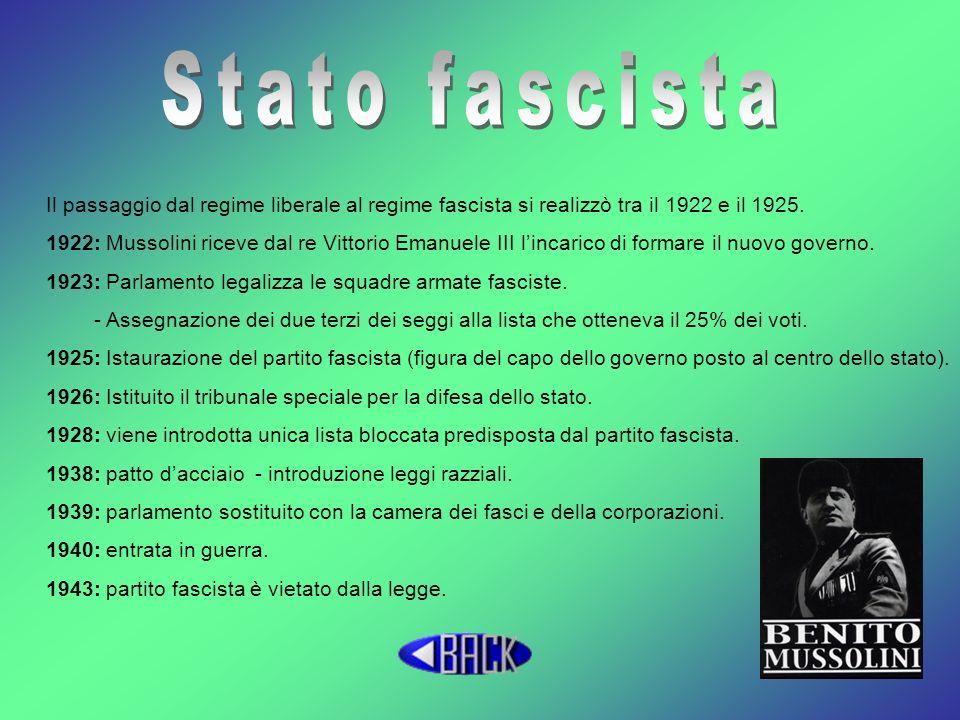 Il passaggio dal regime liberale al regime fascista si realizzò tra il 1922 e il 1925. 1922: Mussolini riceve dal re Vittorio Emanuele III lincarico d