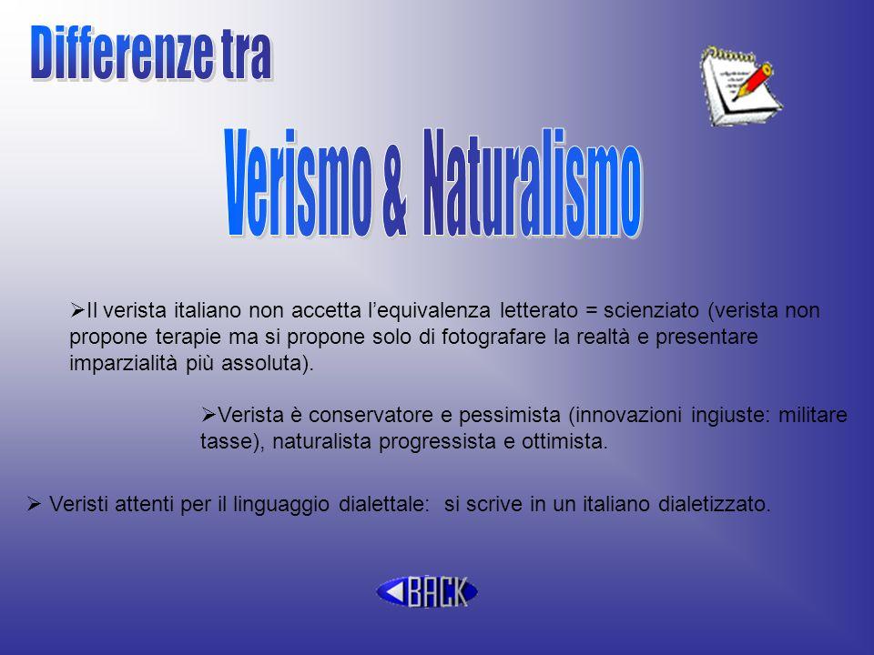Il verista italiano non accetta lequivalenza letterato = scienziato (verista non propone terapie ma si propone solo di fotografare la realtà e present