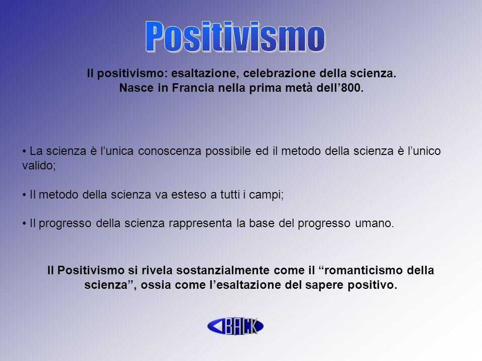 Il positivismo: esaltazione, celebrazione della scienza. Nasce in Francia nella prima metà dell800. La scienza è lunica conoscenza possibile ed il met