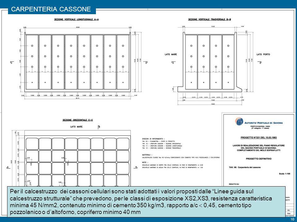10 Tavola 6 CARPENTERIA CASSONE Per il calcestruzzo dei cassoni cellulari sono stati adottati i valori proposti dalle Linee guida sul calcestruzzo strutturale che prevedono, per le classi di esposizione XS2,XS3, resistenza caratteristica minima 45 N/mm2, contenuto minimo di cemento 350 kg/m3, rapporto a/c 0,45, cemento tipo pozzolanico o daltoforno, copriferro minimo 40 mm