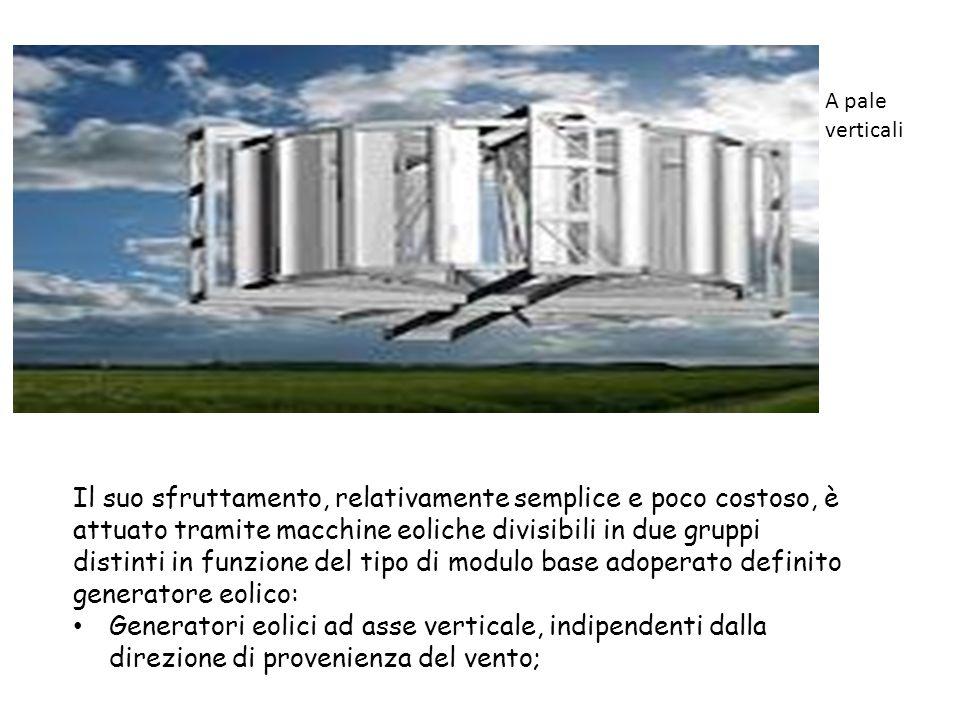 Il suo sfruttamento, relativamente semplice e poco costoso, è attuato tramite macchine eoliche divisibili in due gruppi distinti in funzione del tipo di modulo base adoperato definito generatore eolico: Generatori eolici ad asse verticale, indipendenti dalla direzione di provenienza del vento; A pale verticali