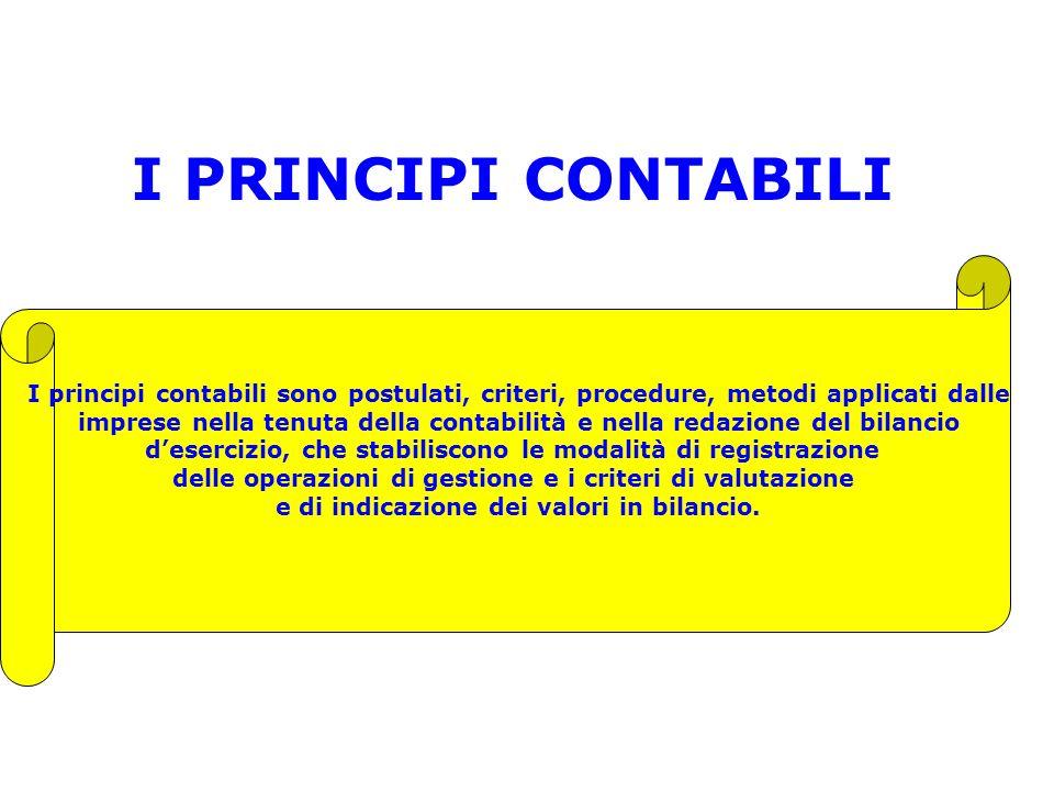 I PRINCIPI CONTABILI I principi contabili sono postulati, criteri, procedure, metodi applicati dalle imprese nella tenuta della contabilità e nella re