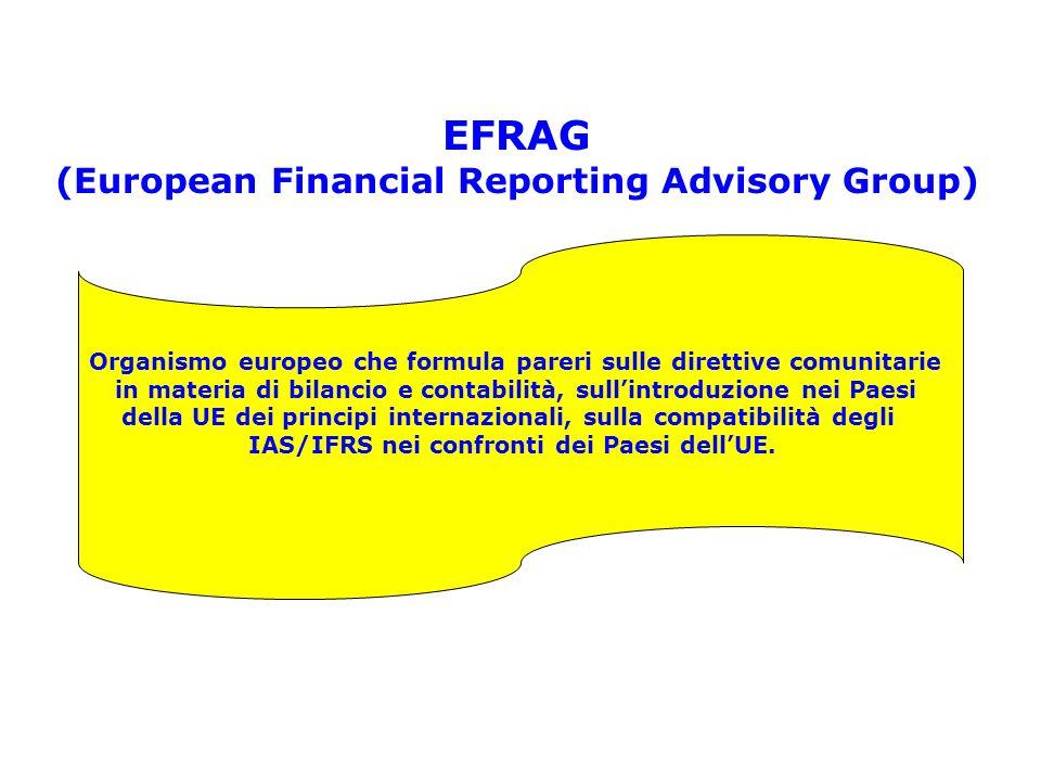 EFRAG (European Financial Reporting Advisory Group) Organismo europeo che formula pareri sulle direttive comunitarie in materia di bilancio e contabil