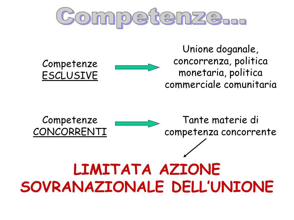 Competenze ESCLUSIVE Unione doganale, concorrenza, politica monetaria, politica commerciale comunitaria Competenze CONCORRENTI Tante materie di compet