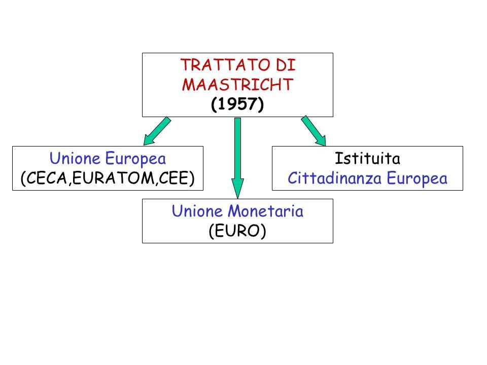 TRATTATO DI MAASTRICHT (1957) Unione Europea (CECA,EURATOM,CEE) Istituita Cittadinanza Europea Unione Monetaria (EURO)