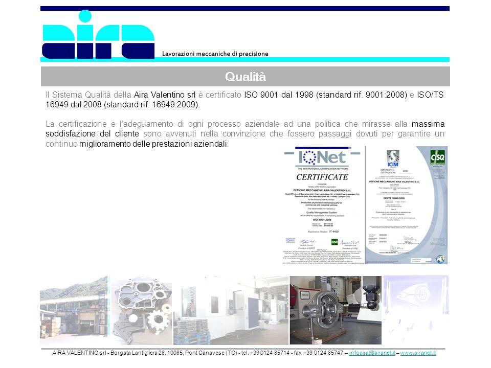 Qualità AIRA VALENTINO srl - Borgata Lantigliera 28, 10085, Pont Canavese (TO) - tel. +39 0124 85714 - fax +39 0124 85747 – infoaira@airanet.it – www.