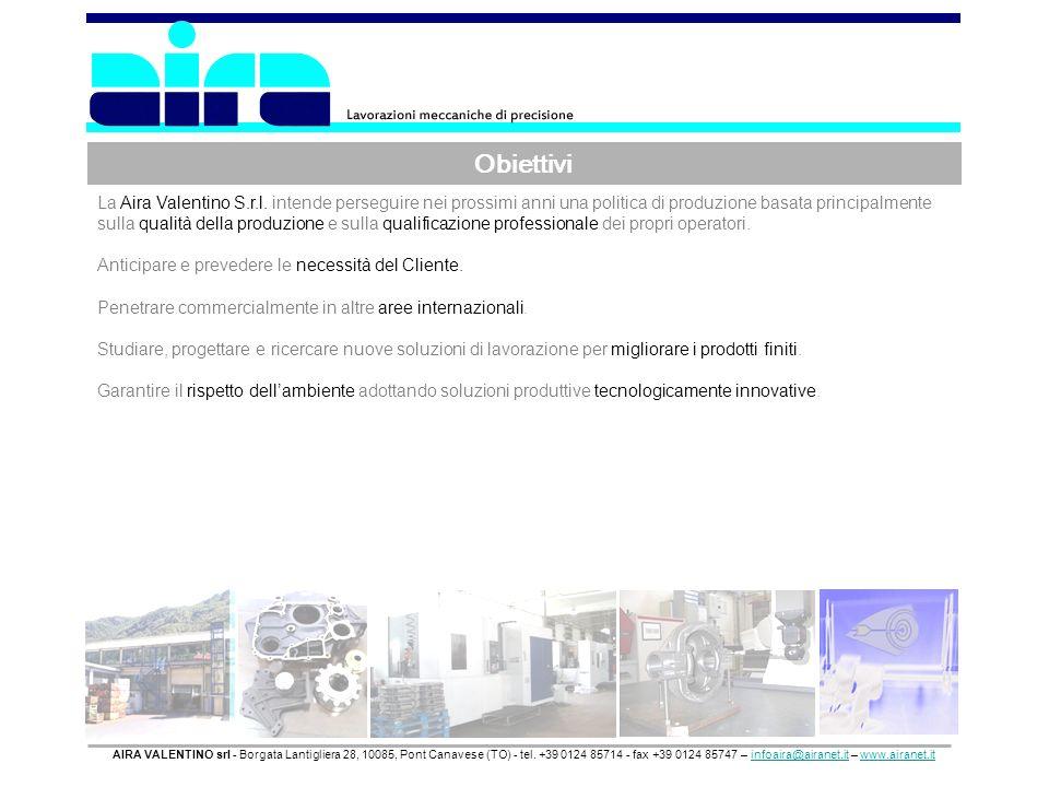 Obiettivi AIRA VALENTINO srl - Borgata Lantigliera 28, 10085, Pont Canavese (TO) - tel. +39 0124 85714 - fax +39 0124 85747 – infoaira@airanet.it – ww
