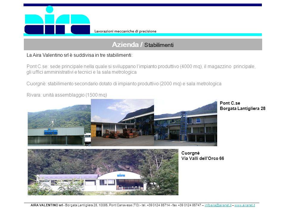 Azienda / Stabilimenti AIRA VALENTINO srl - Borgata Lantigliera 28, 10085, Pont Canavese (TO) - tel. +39 0124 85714 - fax +39 0124 85747 – infoaira@ai