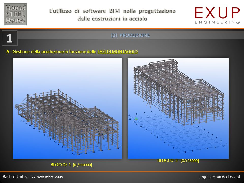Bastia Umbra 27 Novembre 2009 Ing. Leonardo Locchi A - Gestione della produzione in funzione delle FASI DI MONTAGGIO BLOCCO 1 [0 /+10900] BLOCCO 2 [0/
