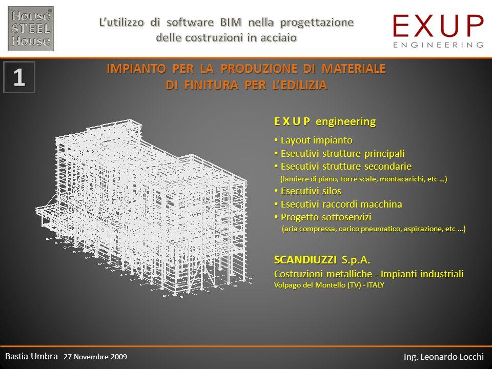Bastia Umbra 27 Novembre 2009 Ing. Leonardo Locchi IMPIANTO PER LA PRODUZIONE DI MATERIALE DI FINITURA PER LEDILIZIA E X U P engineering Layout impian