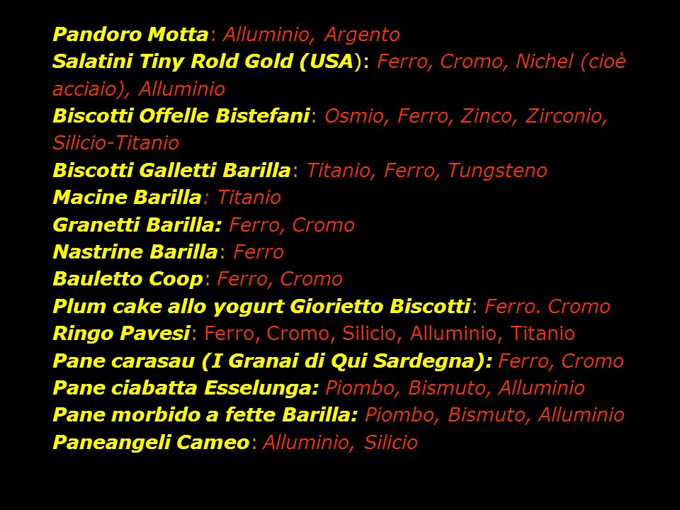 Pandoro Motta: Alluminio, Argento Salatini Tiny Rold Gold (USA): Ferro, Cromo, Nichel (cioè acciaio), Alluminio Biscotti Offelle Bistefani: Osmio, Fer