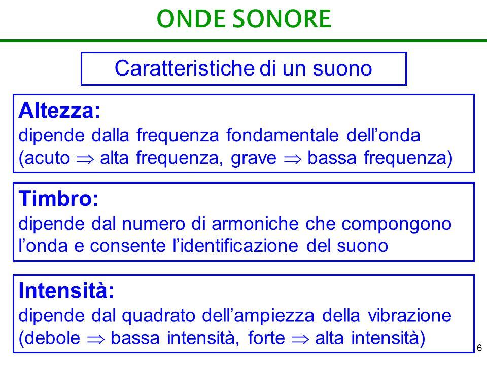 6 ONDE SONORE Caratteristiche di un suono Altezza: dipende dalla frequenza fondamentale dellonda (acuto alta frequenza, grave bassa frequenza) Timbro: