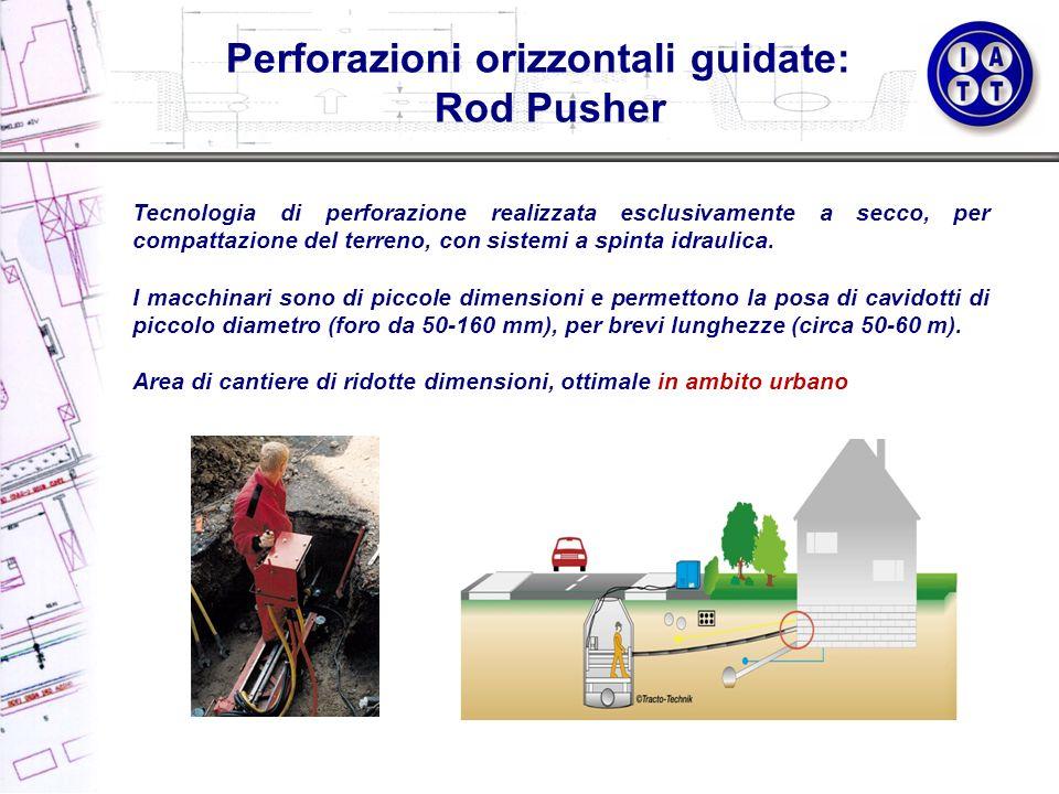 Tecnologia di perforazione realizzata esclusivamente a secco, per compattazione del terreno, con sistemi a spinta idraulica. I macchinari sono di picc