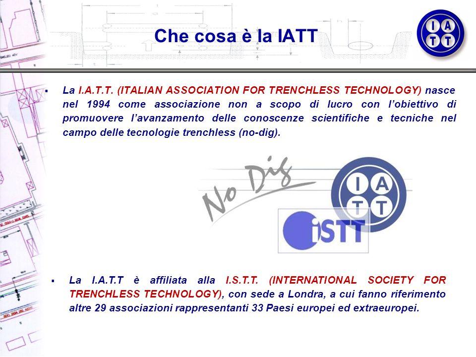 Che cosa è la IATT La I.A.T.T. (ITALIAN ASSOCIATION FOR TRENCHLESS TECHNOLOGY) nasce nel 1994 come associazione non a scopo di lucro con lobiettivo di