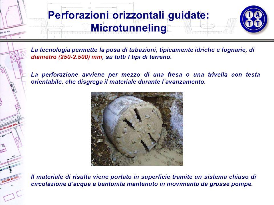 Perforazioni orizzontali guidate: Microtunneling La tecnologia permette la posa di tubazioni, tipicamente idriche e fognarie, di diametro (250-2.500)