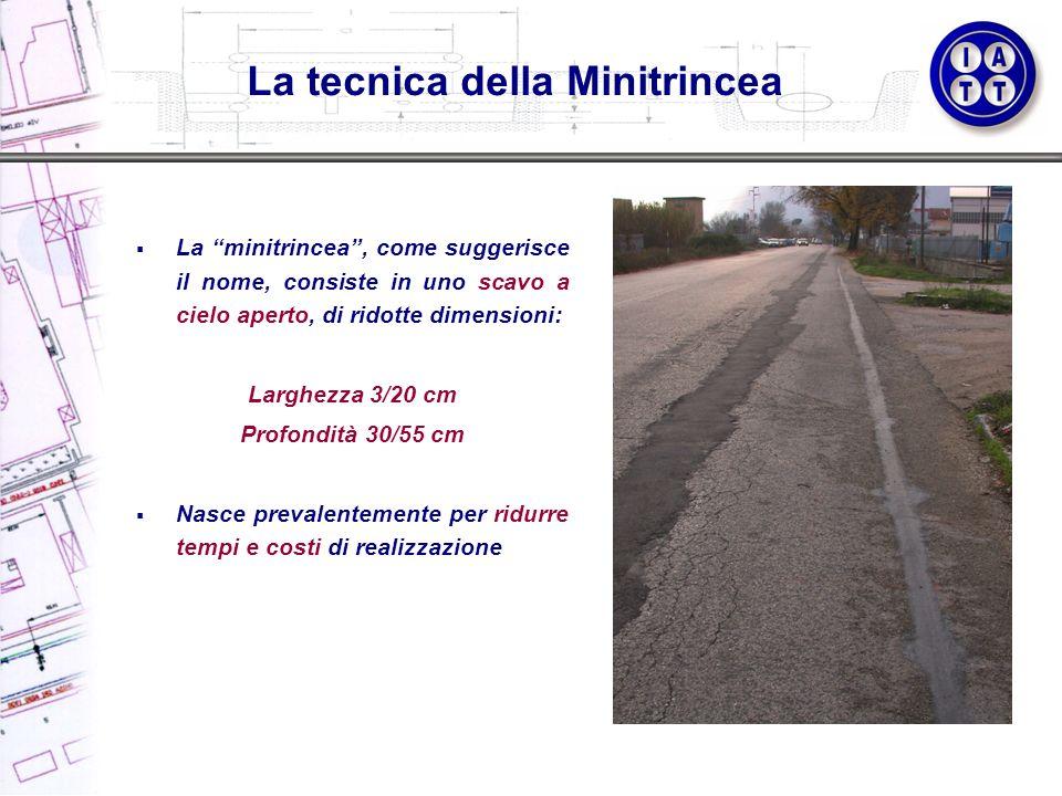 La tecnica della Minitrincea La minitrincea, come suggerisce il nome, consiste in uno scavo a cielo aperto, di ridotte dimensioni: Larghezza 3/20 cm P