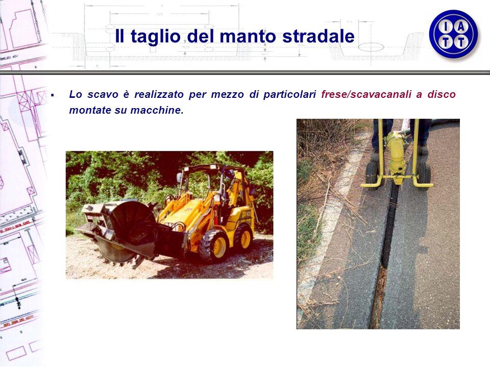 Lo scavo è realizzato per mezzo di particolari frese/scavacanali a disco montate su macchine. Il taglio del manto stradale